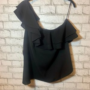 Black ruffle one shoulder top XL NWOT